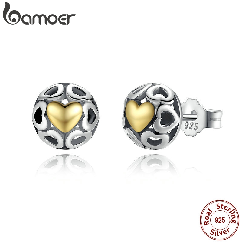 BAMOER Brincos 925 Sterling Silver My One True Love Stud Earrings For Women Openwork Heart Earrings Fine Jewelry PAS443