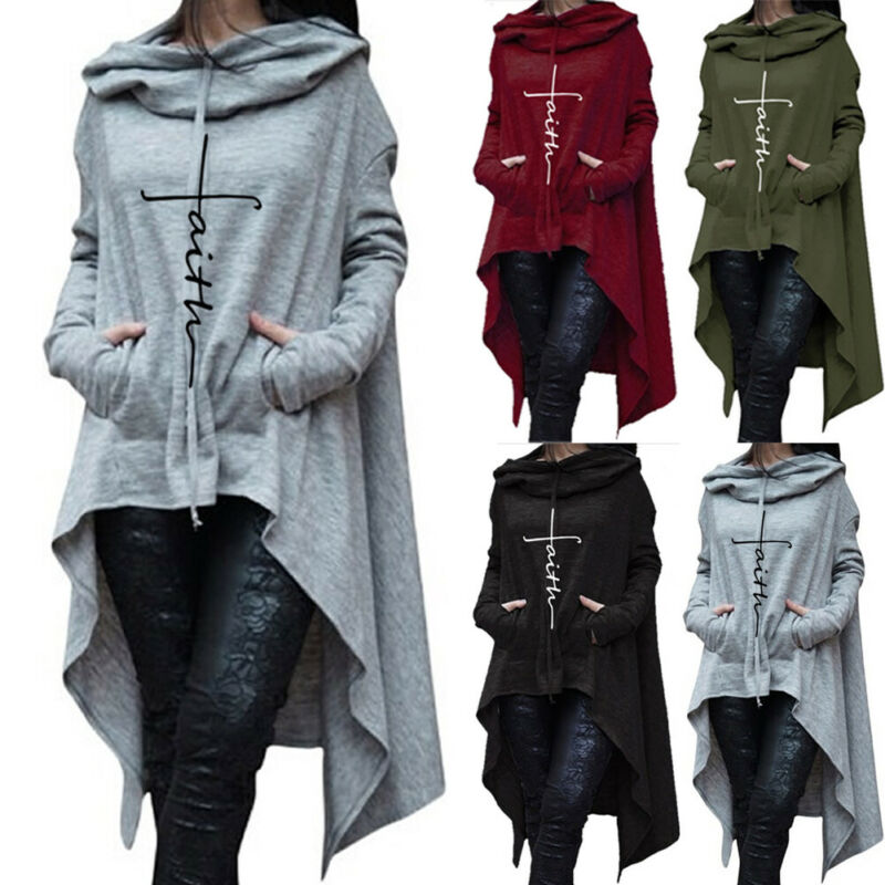 Womens Hoodies Tunic Tops 2019 Fashion Teen Girls Loose Long Sleeve Hoodie Blouse Sweatshirt Ladies Casual Pockets Irregular Hooded Pullovers T-Shirt Clothes Plus Size