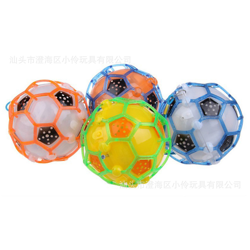 New Style Shining Children Assembled Educational Toy Flash Electric Music Ball Football Bouncing Ball Stall