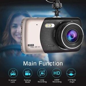 Image 2 - 1080p fhd carro dvr lcd traço cam vídeo retrovisor f2.0 câmera dupla wdr ciclo gravação estrela visão noturna g sensor dashcam buck linha