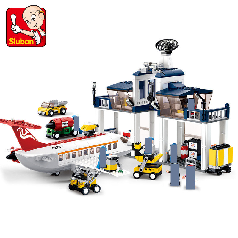 826Pcs City Aviation Technic Airplane Airport Maintenance Base Building Blocks Sets DIY Bricks Educational Toys For Children