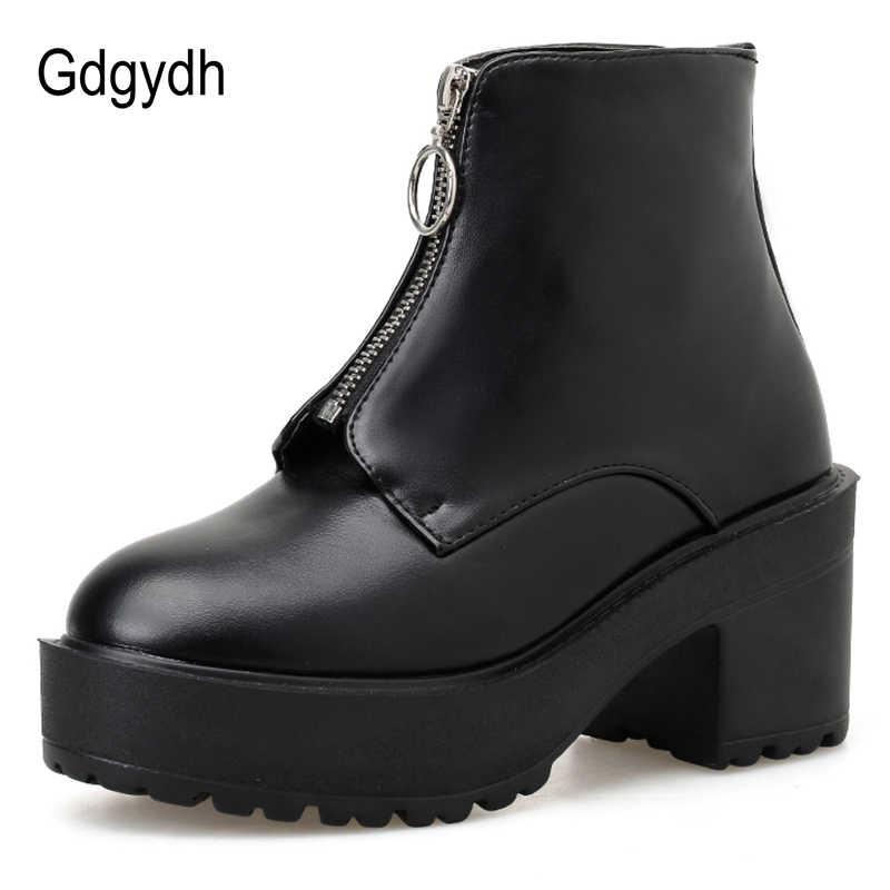 Gdgydh Mode Rits Vrouwen Blok Hak Laarzen Platform Schoenen Korte Laarzen Vrouw Herfst Leer Zwart Gothic Stijl Hoge Kwaliteit
