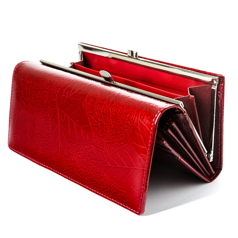 Fashion Genuine Leather Womens Wallets Female Purses Coin Pocket ID Card Holder Leaf Pattern Ladies Money Bags Clutch Wallet