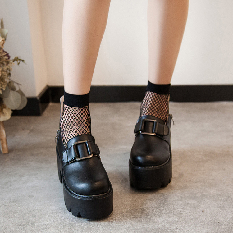 Lolita Gothic Round Head Mary Jane Shoes Japanese College Girl JK Uniform  PU Leatehr Platform Strap Waterproof Black Shoes 2