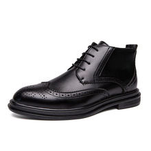 Classic Business Mens Dress Shoes Brogue High Top Elegant Formal Wedding Men Slip On Office Oxford For Black