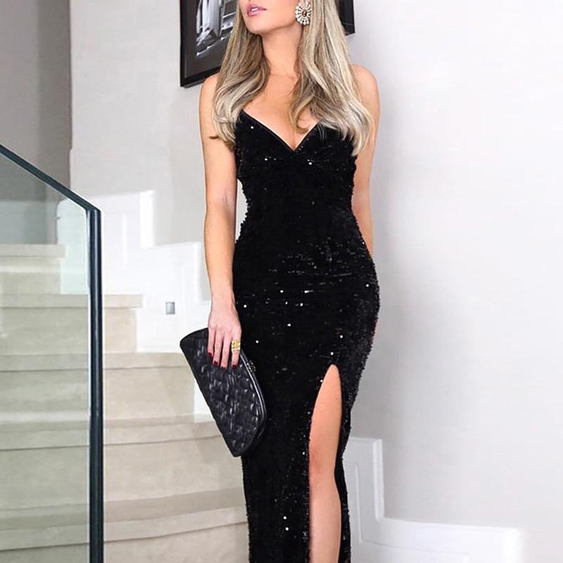 Sexy Evening Party Dress Women Vintage Shiny Sequined Open Back Dress Backless Elegant Asymmetric Split Party Slit Dresses