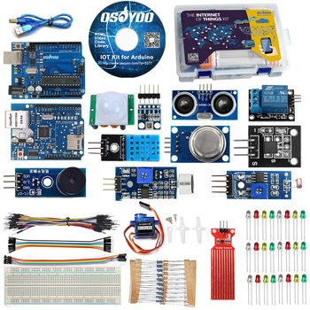 Starter Kit for Arduino Iot projects with Tutorial Ethertnet shield Internet of things learning kits Android/iOS Remote Control craft arduino projects for dummies