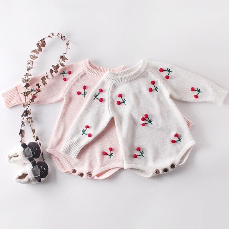 Осенний вязаный детский комбинезон, Одежда для новорожденных с принтом вишни, 100% хлопок, вязаный свитер, комбинезон для малышей