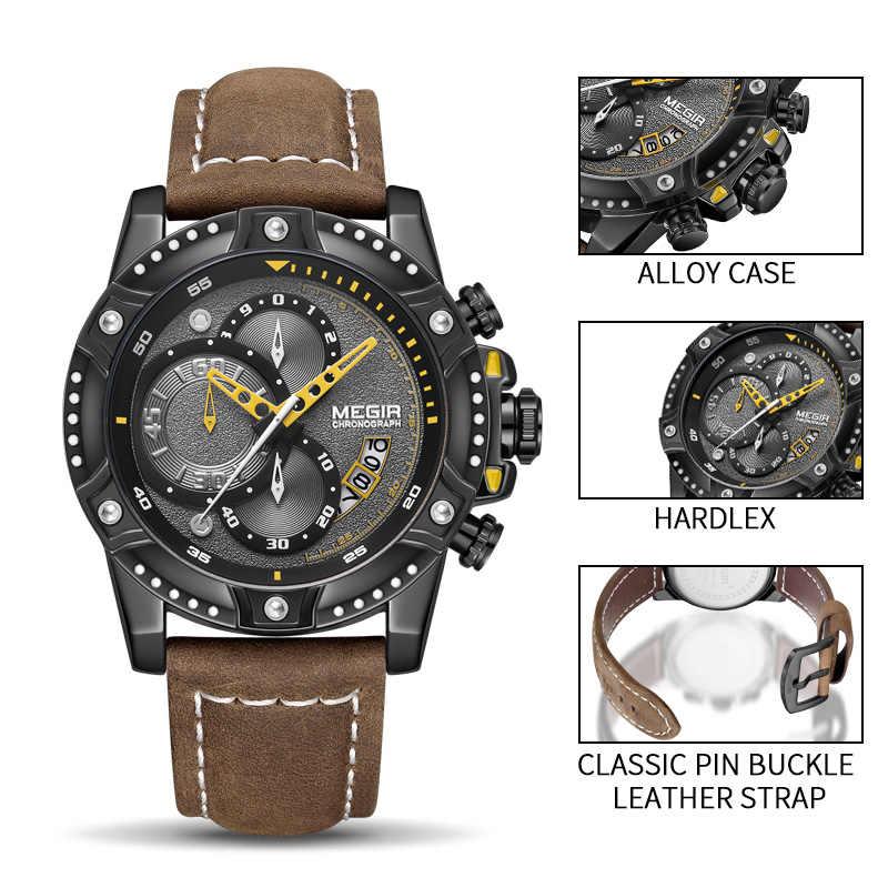 MEGIR Creative montre-bracelet homme montre étanche en cuir hommes montres haut de gamme de luxe chronographe Sport montre Relogio Masculino