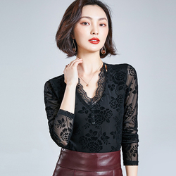 AOSSVIAO 2020Women Sexy V Neck Lace Long Sleeve Top Fashion Mesh Blouse Women's Long Sleeve Pattern Floral Ladies Tops Black