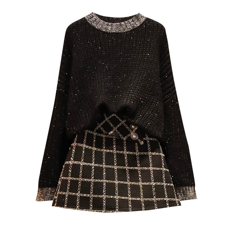 Large Size Ladies' New Winter Kit Black Sweater Grid Skirt Sparkle Thick Sweater Two Pcs Clothing Set Leisure Suits Outfit