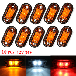 10PCS Amber 2 Led Light Oval Clearance Trailer Car Truck Side Marker Tail Lamp Warning Light Side Marker Lamp 12V 24V led