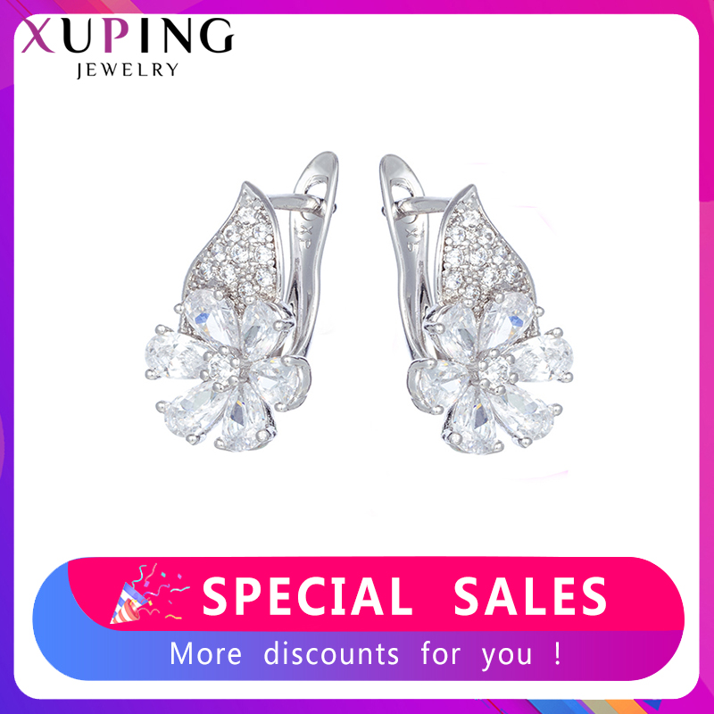 Xuping Hoop Earrings With Stone European Style  Jewelry Charms Simple Elegant Party Engagement Birthday Gifts SS8.1-80466