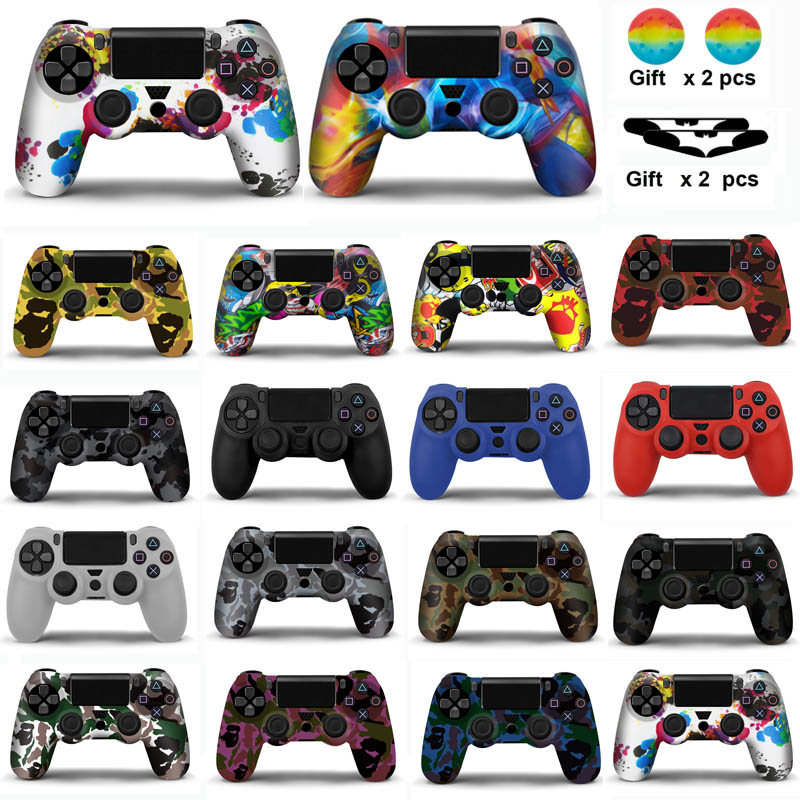 For Sony <font><b>PS4</b></font> <font><b>Controller</b></font> Silicone <font><b>Case</b></font> Cover For <font><b>PS4</b></font> Gamepads joystick with 2 thumbsticks Grips Cap image