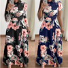 Women autumn Dress 2020 Casual Long Sleeve Long Dress Boho Floral Print Maxi Dress Turtleneck Bandage Elegant Dresses Vestidos 1