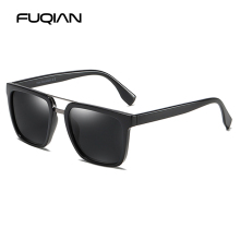 FUQIAN 2019 Stylish Square Sun Glasses Men Brand Design Double Bridge TR90 Male Sunglasses Driving Glass UV400