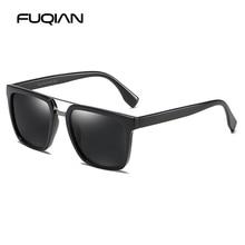 FUQIAN 2019 Stylish Square Sun Glasses Men Brand Design Double Bridge TR90 Male Sunglasses Driving Glass UV400