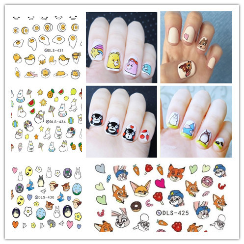 Manicure Watermarking Adhesive Paper Watermark Flower Stickers Yolk King/Kumamoto Bear/Crazy Animal City Nail Sticker