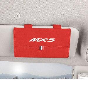 Image 4 - 1pc Auto Zubehör für Mazda Mx5 Beflockung Auto Sonnenbrille Fall Halter Organizer Auto Gläser Box Lagerung Halter Magnetische