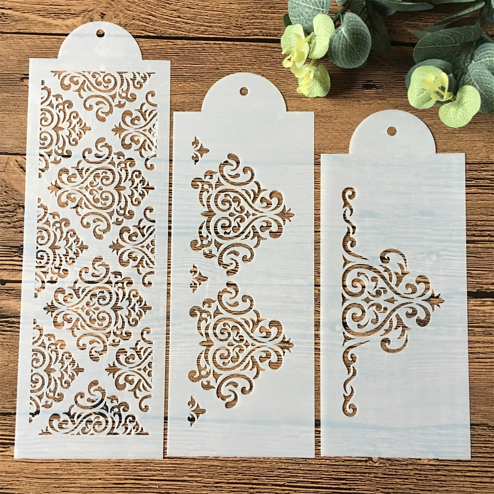 3Pcs/Set 31cm Flower Texture DIY Layering Stencils Wall Painting Scrapbook Coloring Embossing Album Decorative Template