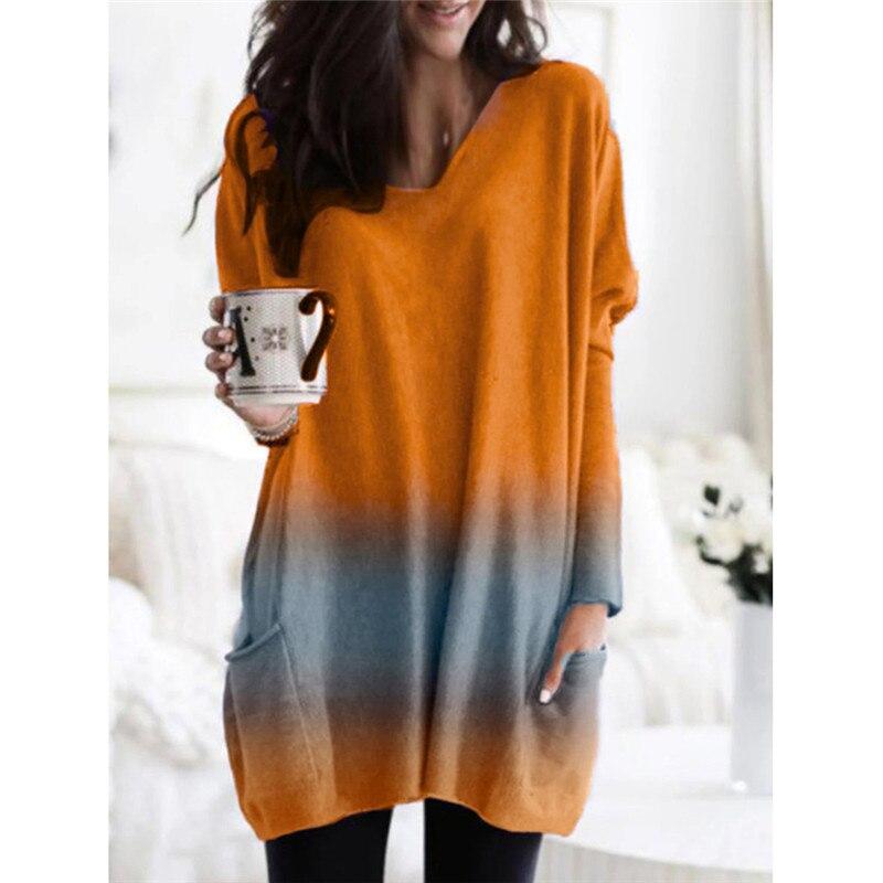 Hirigin nouvelle mode femmes automne col en V à manches longues décontracté lâche pull pull multicolore sweatshirts à manches longues