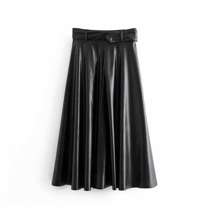 Vrouwen Vintage Faux Lederen Rok Met Riem 2020 Elegant Office Dames Zwart Pu Midi Rok Mode Geplooide Casual Dames Rokken