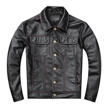 Free shipping.Gift young classic casual genuine leather coat.vintage mens cowhide jacket.Us plus size leather outwear.sales