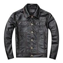 Frete grátis. presente jovem clássico casual casaco de couro genuíno. vintage jaqueta de couro masculino. eua mais tamanho outwear de couro. sales