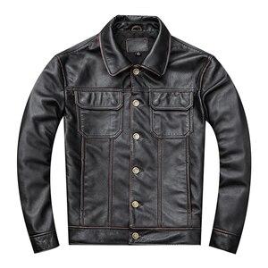 Image 1 - Spedizione gratuita. regalo giovane classic casual genuino cappotto di pelle. vintage degli uomini di giacca di pelle bovina. us più il cuoio di formato outwear. vendite