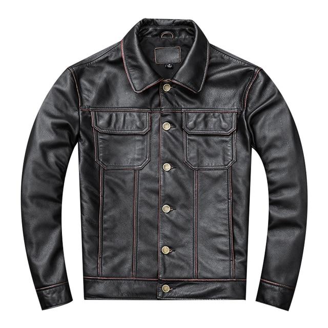 Spedizione gratuita. regalo giovane classic casual genuino cappotto di pelle. vintage degli uomini di giacca di pelle bovina. us più il cuoio di formato outwear. vendite