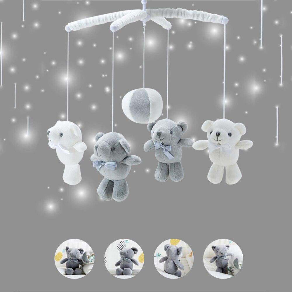 Baby Toys White Rattles Bracket Set Baby Crib Mobile Bed Bell Toy Holder Arm Bracket Hugs Wind-up Music Box Developing Toys