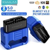 Kuulaa-ferramenta de diagnóstico de carro elm327 obd2, scanner elm 327 v2.2, bluetooth 5.0, obdii, obd 2, leitor de ferramentas para android, ios, pc