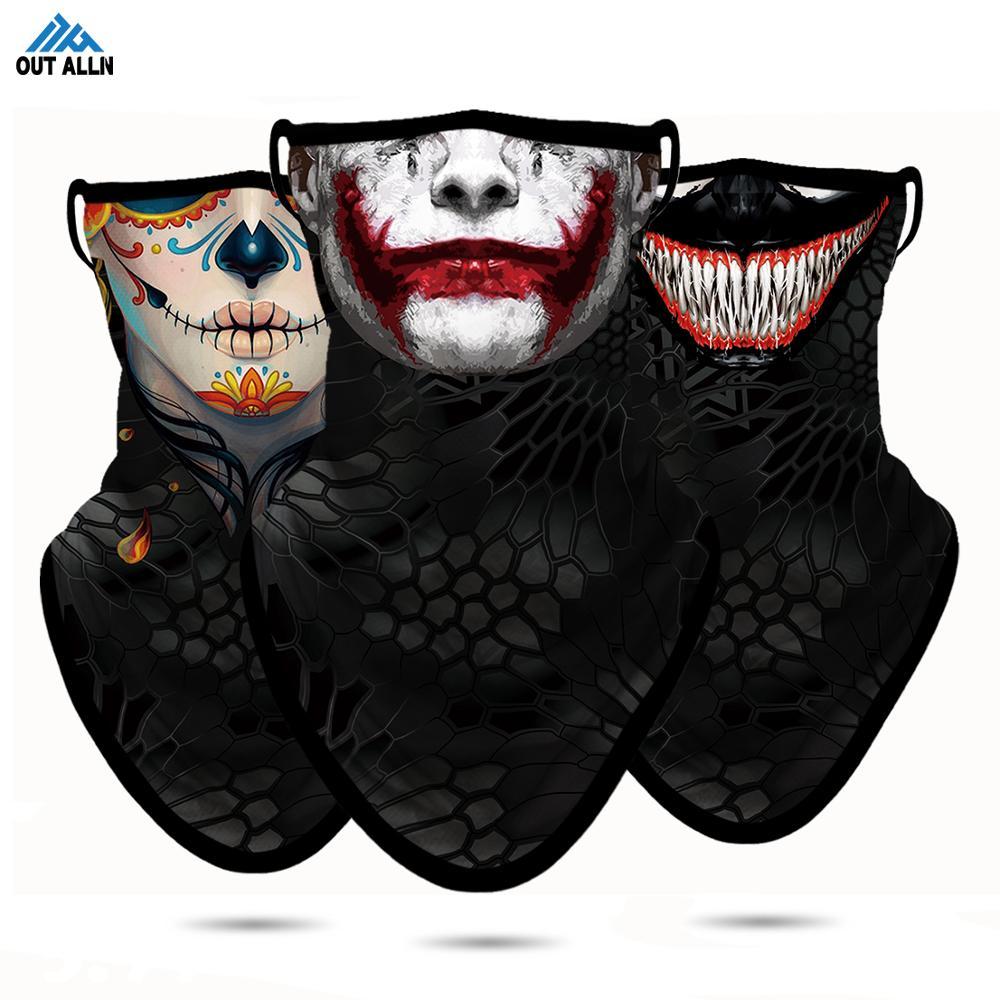 Acampamento faceshilled 3d joker rosto maks bandana de pesca poliéster respirável rosto escudo huting caminhadas bandanas cachecol pescoço gaiter