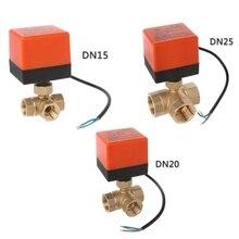 3 דרך ממונע שסתום כדור חשמלי שסתום כדור ממונע שסתום שלושה קו שני דרך בקרת AC220V DN15 DN20 DN25
