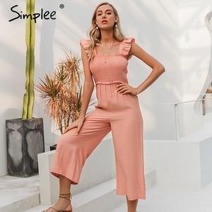 Image 2 - Simplee 우아한 프릴 주름 여성 jumpsuit 캐주얼 스트랩 여성 넓은 다리 jumpsuits 장난 꾸러기 봄 여름 숙녀 바지 2020