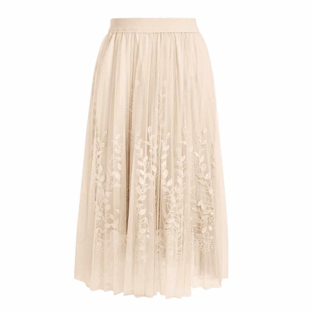 꽃 자수 a 라인 투투 레이스 메쉬 스커트 여성 우아한 Tulle Long Pleated Skirt 여성 미디 스커트 Summer Hot Sale f2