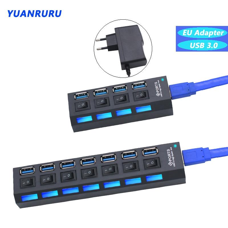 Hub USB 3.0 haute vitesse avec 4/7 Ports et 3.0 commutateurs, adaptateur d'alimentation pour PC et ordinateur portable