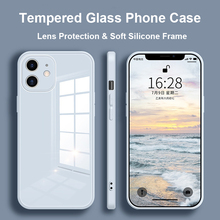 Tempered Glass Phone Case For iPhone 12 11 Pro Max 12 Mini X XS Max Cover For iPhone XR 8 7 6s 6 Plus SE 2020 Soft Frame Case