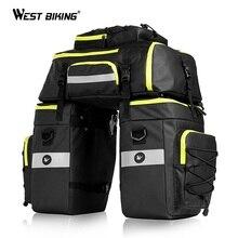 WEST BIKING Multifunction Bicycle Rack Bag Waterproof 75L Large Capacity Mountain Road Bike Trunk Double Side Seat Bags