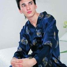 Men's Pajamas Set 100% Pure Silk Men Lounging Wear Floral Sleepwear Size L XL XXL