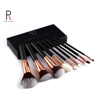 Princess Rose 9pcs Pure Black Handle Gold Metal Ring Professional Foundation Blush Eye Shadow Lip Mix Makeup Brush Set