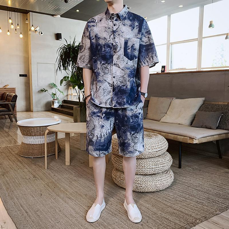 5XL Tracksuit Male 2020 Men Clothing Sportswear Set Fitness Summer Print Men Shorts+T Shirt Men's Suit 2 Pieces Sets Plus Size