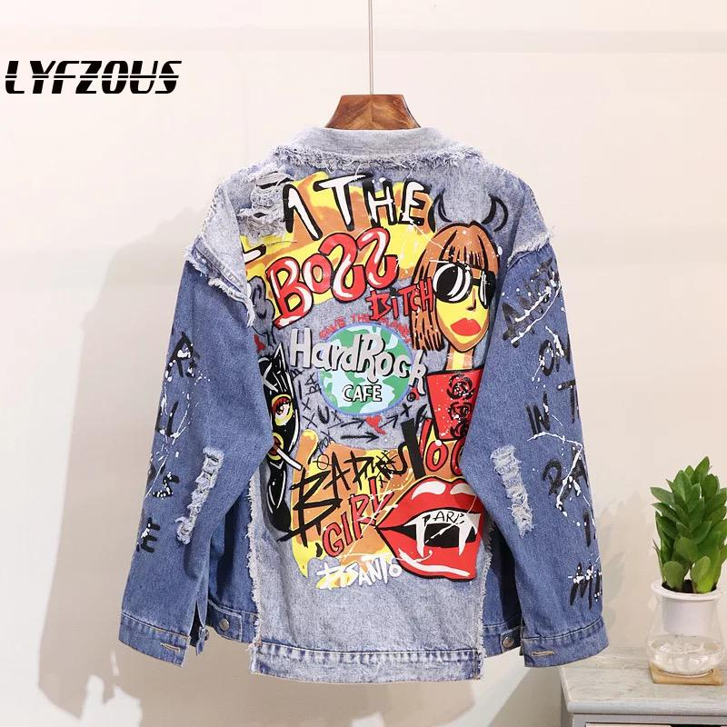 Graffiti Hole Jean Jacket Women Denim Jackets New Outerwear Patchwork Oversize Fashion Print Female Coats Turn-Down Collar Tops
