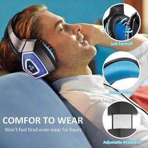 Image 3 - משחקי אוזניות סטריאו מוקף עמוק בס LED אור אוזניות על אוזן אוזניות עם אור עבור LOL מחשב נייד גיימר