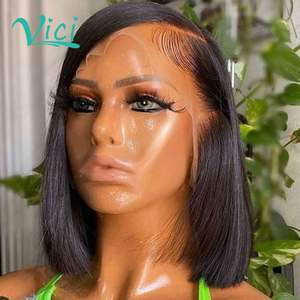 Pixie Cut Human Hair Wigs Middle Part Straight Blunt Cut Short Bob Human Hair Wig 13x4 Lace Front Human Hair Wig Preplucked