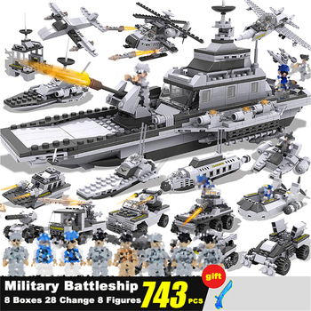 747 PCS Military Warship Aircraft Army Figures Building Blocks Construction Bricks Mini Figures Store Children Toys for Boys