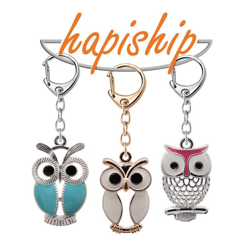 Hapiship 2018 New Women/Men's Fashion Handmade Silver Owl Key Chains Key Rings Alloy Charms Gifts YSDY213