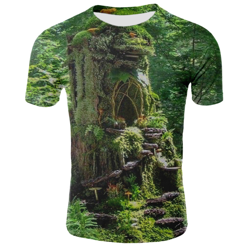 Milk Silk 3D Nature / Landscape Printing Man Woman T Shirt Clothes Short-sleeved O-neck 3d Sky/grassland/trees Men Shirt T-shirt