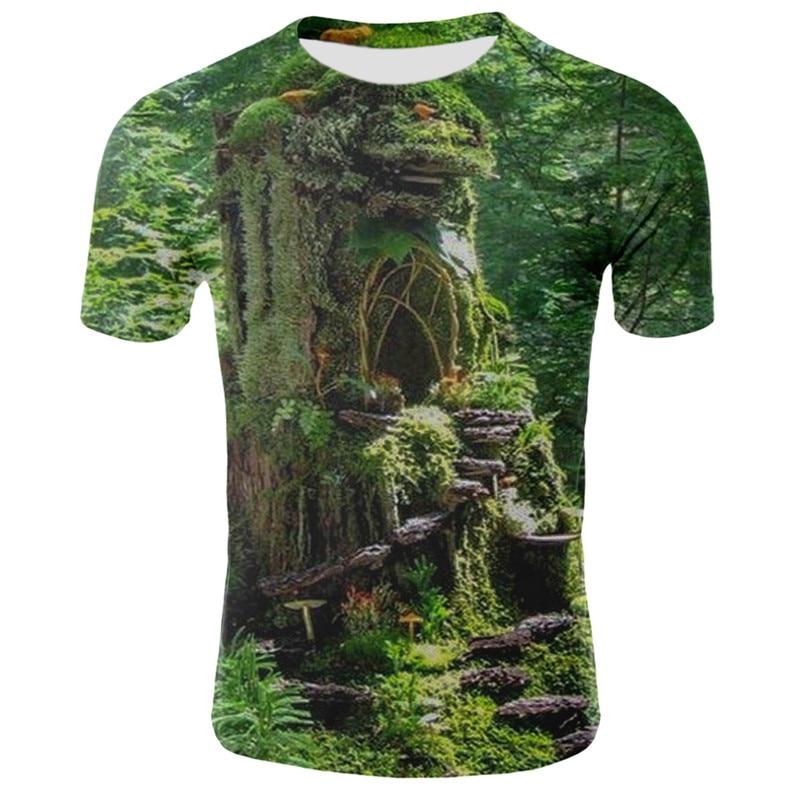 Milk Silk 3D Nature / Landscape Printing Man Woman T Shirt Clothes Short-sleeved O-neck 3d Sky/grassland/trees Men Shirt T-shirt