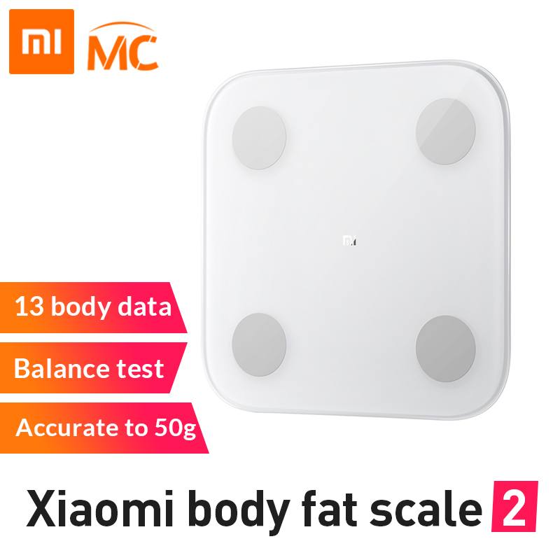Nouvelle balance de graisse corporelle intelligente Xiao mi mi 2 avec APP mi fit et moniteur de Composition corporelle avec écran de LED caché